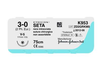 Sutura Seta Ethicon K872H 3/0 Pz.36
